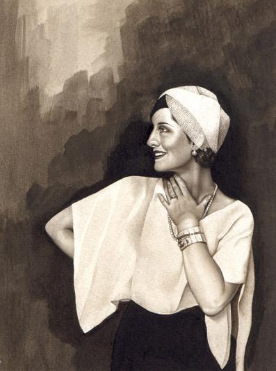 Norma Shearer. Watercolour on paper. 2000