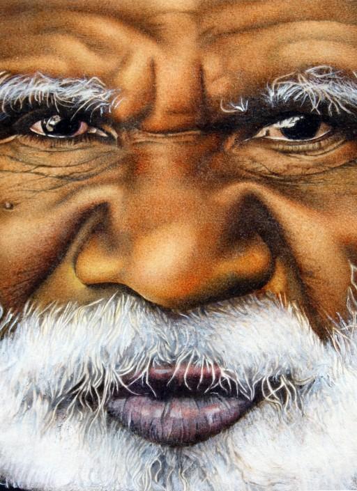 Aboriginal man. 'Winner of the Shell portraiture award, Sydney Australia 1986' Watercolour on paper.