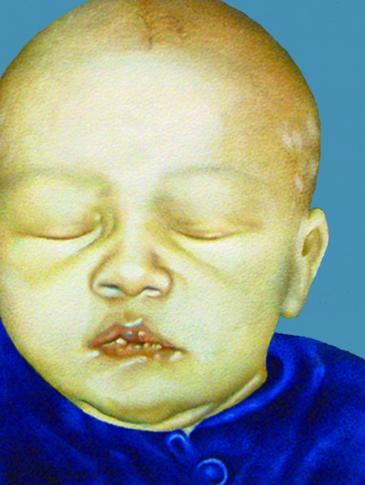 Sleeping Baby. Watercolour on board. 2011