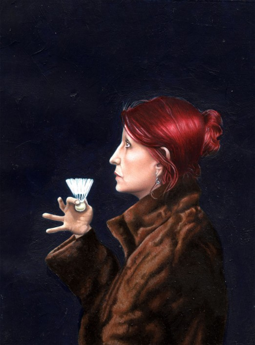 Celia, badminton queen. Oil on board. 2009