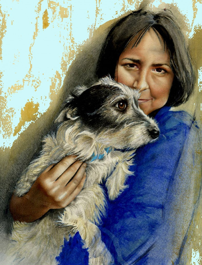 Sue with Millie. Watercolour and acrylic on board. 2007