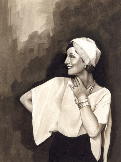 Norma Shearer. Watercolour on paper. 2000