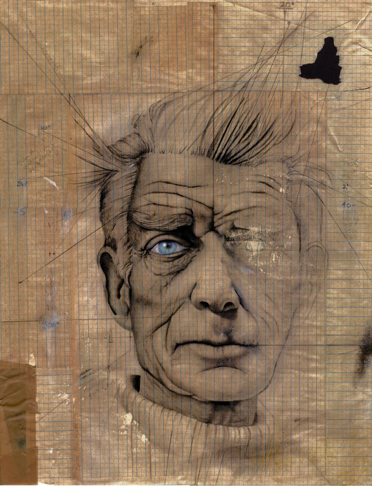 Samuel Beckett, pencil, charcoal and watercolour