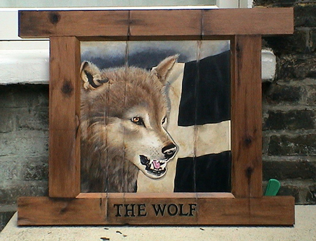 Wolf pub sign for feature film, Oil