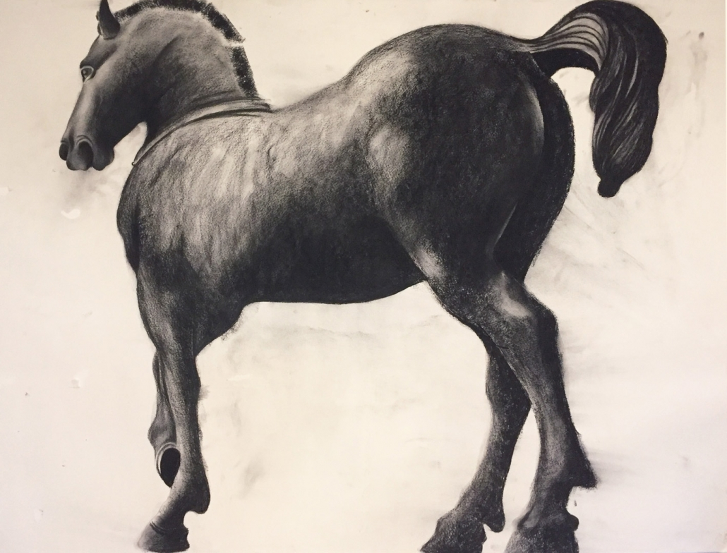 Horse at St Mark's Basilica, Charcoal. 100 x 70 cm.
